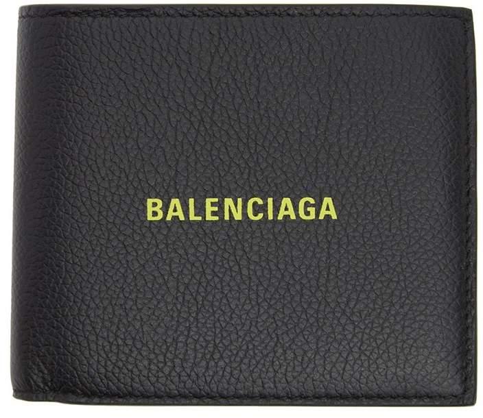 Balenciaga black and neon green logo wallet