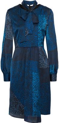 Elie Tahari Alara Patchwork-effect Leopard-print Silk-satin Dress