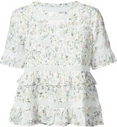 Anine Bing floral print frilled top - women - Cotton - XS