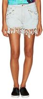 Love Moschino Beaded Fringe Denim Shorts