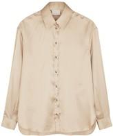 Villao Champagne stretch-silk satin shirt