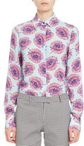 Altuzarra Chika Floral Long-Sleeve Blouse, Blue