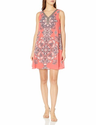 Sandra Darren Women's Petite Sleeveless Placement Printed Chiffon Trapeze Dress