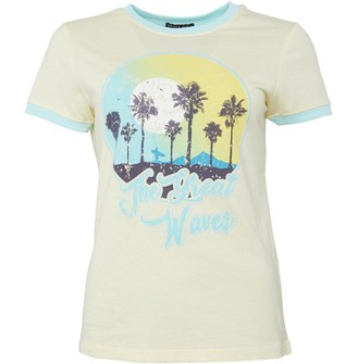 Brave Soul Womens Waves Crew Neck T-Shirt Lemon/Pale Aqua