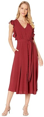 1 STATE Sleeveless Button Front Rayon Crosshatch Midi Dress (Mineral Red) Women's Dress