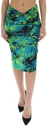 Versace Jungle Print Waist-Detailed Pencil Skirt
