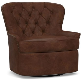 Pottery Barn Cardiff Tufted Leather Swivel Armchair with Nailheads