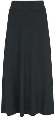 Mint Velvet Grey Knitted A-Line Midi Skirt