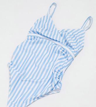 Peek & Beau Maternity Exclusive wrap-front swimsuit in blue stripe D-F