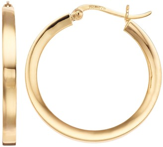 Primavera 24k Gold Over Sterling Silver Thick Hoop Earrings