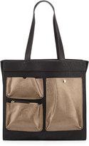 Neiman Marcus Greta North-South Pocket Tote Bag, Black/Pewter