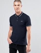 Armani Jeans Polo Shirt With Tipping In Slim Stretch Fit Black