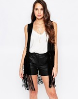 Goldie Run The World Vest In Suedette With Fringed Hem