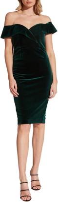 Bardot Bella Off the Shoulder Velvet Dress