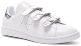 Raf Simons x Adidas Leather Stan Smith Sneakers White & Silver Metallic