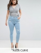 Asos High Waist Ridley Skinny Jean In Hibiscus Light Wash Blue