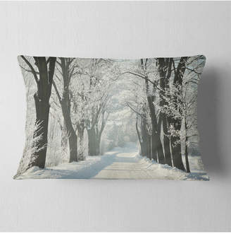 "Country Road Designart Between Foggy Trees Forest Throw Pillow - 12"" X 20"""