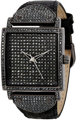 Peugeot Couture Women Crystal Square Shape Watch with Leather Band Strap