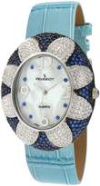 Peugeot Women's J1409BL Blue Swarovski Crystal Oval Case Blue Strap Watch