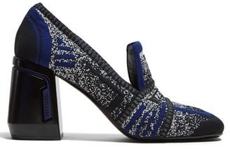 Prada Block Heel Logo Jacquard Loafers - Womens - Navy