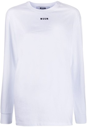MSGM logo print long-sleeved T-shirt