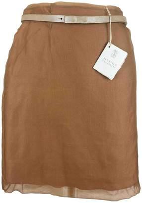 Brunello Cucinelli Brown Silk Skirt for Women