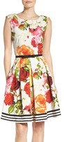 Gabby Skye Women's Floral Fit & Flare Dress