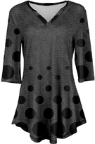 Azalea Black & Gray Geometric V-Neck Tunic - Plus Too