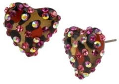 Betsey Johnson Leopard Heart Stud Earrings