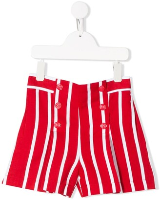 MonnaLisa Striped High-Rise Shorts
