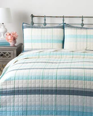 Izod Aqua Radford Stripe Quilt Set