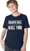 Crazy Dog T-shirts Crazy Dog Tshirts Youth Sharks Will Kill You T Shirt Funny Shark Bite Tee For Kids L