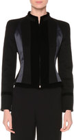Giorgio Armani Zip-Front Fitted Combo Jacket, Black