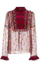 Anna Sui Apples and Cherries Chiffon Top