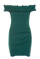 Quiz Green Frill Detail Bardot Dress
