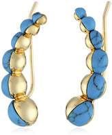Noir Turquoise Stone Curve Earrings