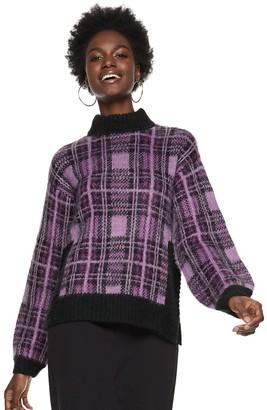 Nine West Women's Plaid Boxy Sweater