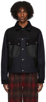 Nicholas Daley Black Denim Mixed Jacket