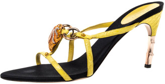 Gucci x Tom Ford Yellow Croc Leather Crystal Snake-head Embellished Strappy Sandals Size 41