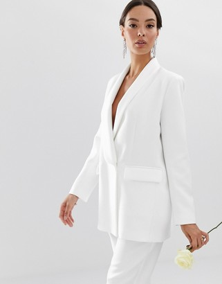 Asos Edition EDITION tailored blazer with shawl collar-White