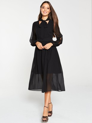 Very Lace Trim Soft Woven Midi Dress - Black