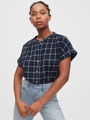 Gap Shirred Button-Front Shirt