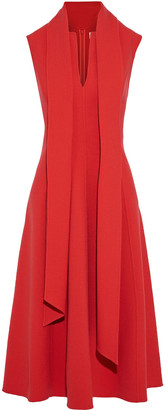 Oscar de la Renta Draped Wool-blend Crepe Midi Dress