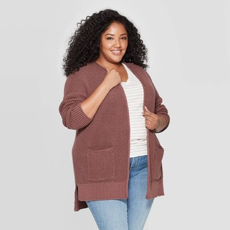 Universal Thread Women's Plus Size Side Slit Open Layered Cardigan - Universal ThreadTM