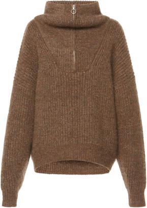 Etoile Isabel Marant Myclan Zip-Detailed Ribbed-Knit Turtleneck Sweater