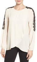 Bobeau Women's Lace Sleeve Crossover Front Blouse