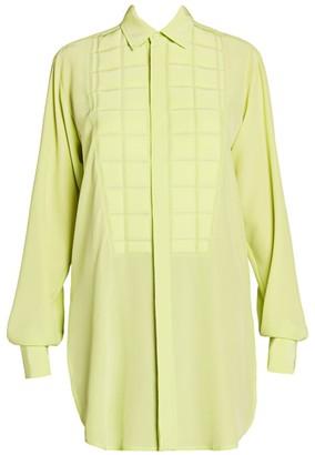 Bottega Veneta Gridded-Bib Silk Shirt