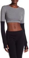 Norma Kamali Long Sleeve Midriff Crop Sweater