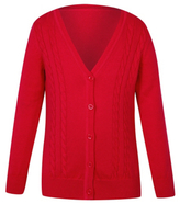 George Girls Red School V Neck Cable Cardigan