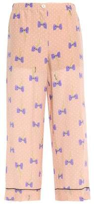 Miu Miu Printed Silk Crepe De Chine Wide-leg Pants